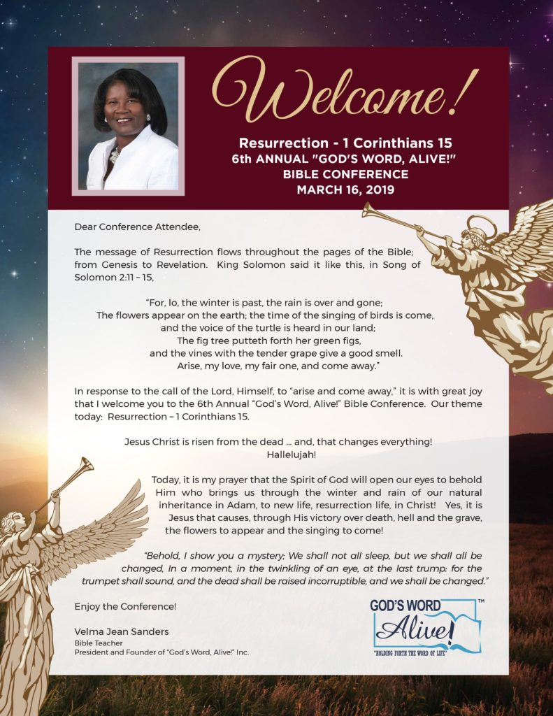 6th Annual Bible Conference  U2013 Welcome Letter