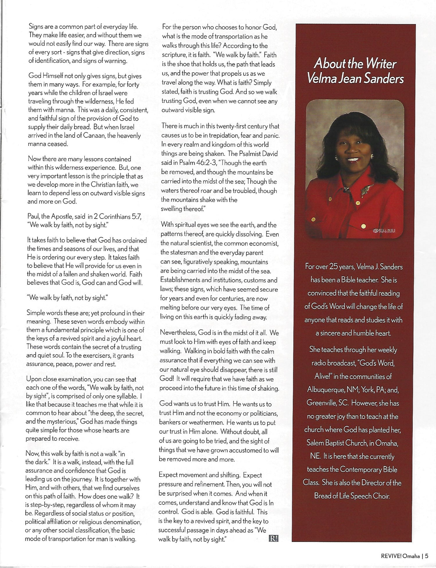 Velma Featured in REVIVE! Omaha | God's Word Alive