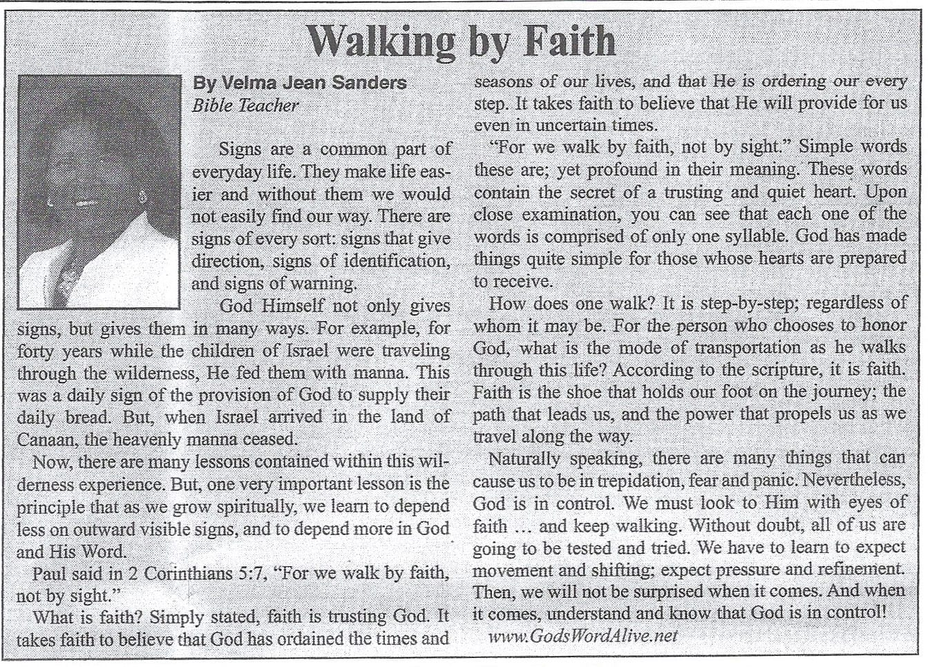 walking by faith article by Velma Sanders