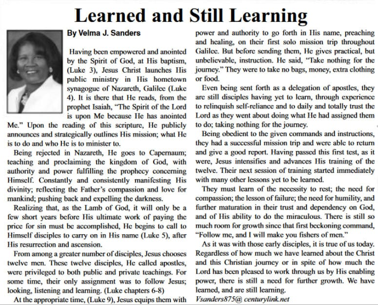 Learned and Still Learning article