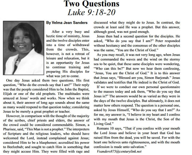 Two Questions article