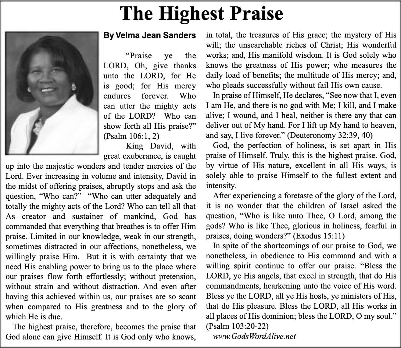 The Highest Praise Article