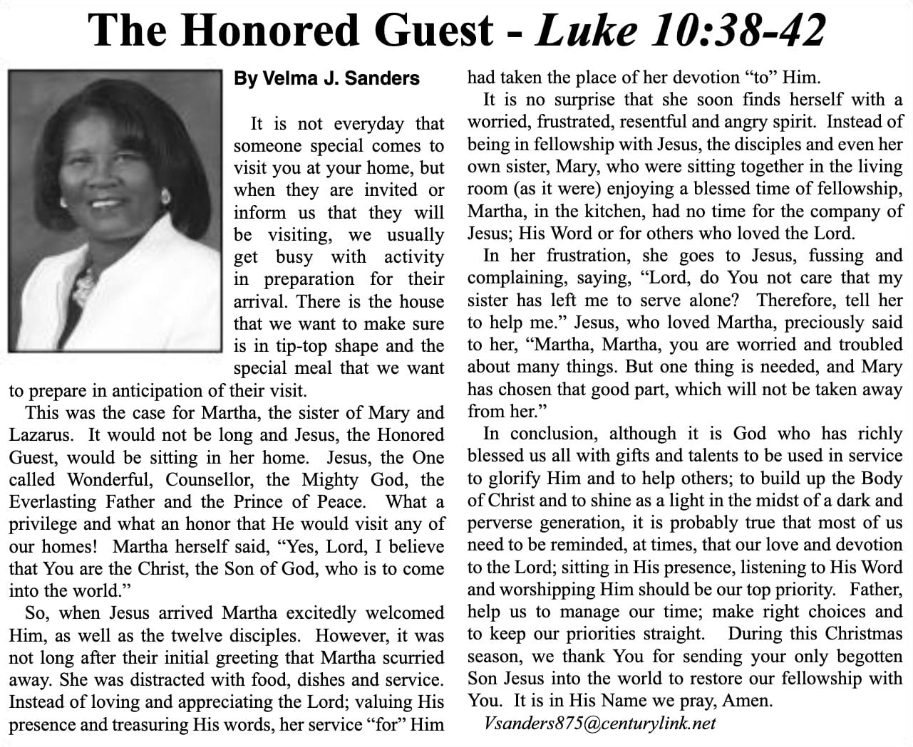 The Honored Guest article