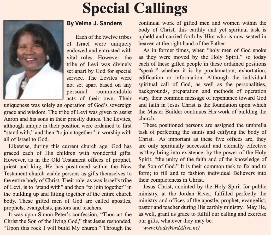 Special Callings Article
